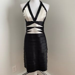 BZBGMAXAZRIA Black ivory dress halter size 8